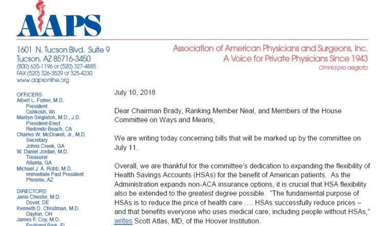 Letter to House Ways and Means re July 11, 2018 Markup - AAPS